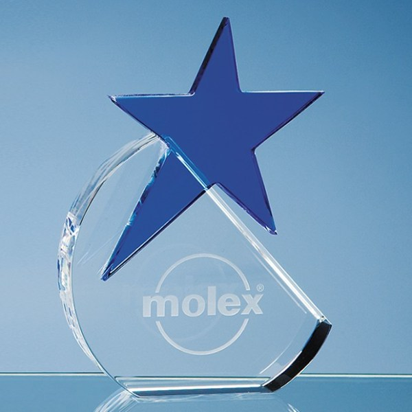 15cm Optical Crystal Circle with a Cobalt Blue Star Award
