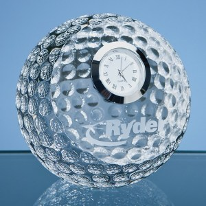 8cm Optical Crystal Golf Ball with Clock