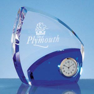 13.5cm Optical Crystal Clear & Cobalt Blue Clock