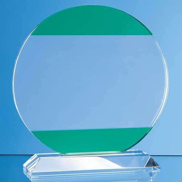 14cm Clear & Light Emerald Green Optical Crystal Circle Award