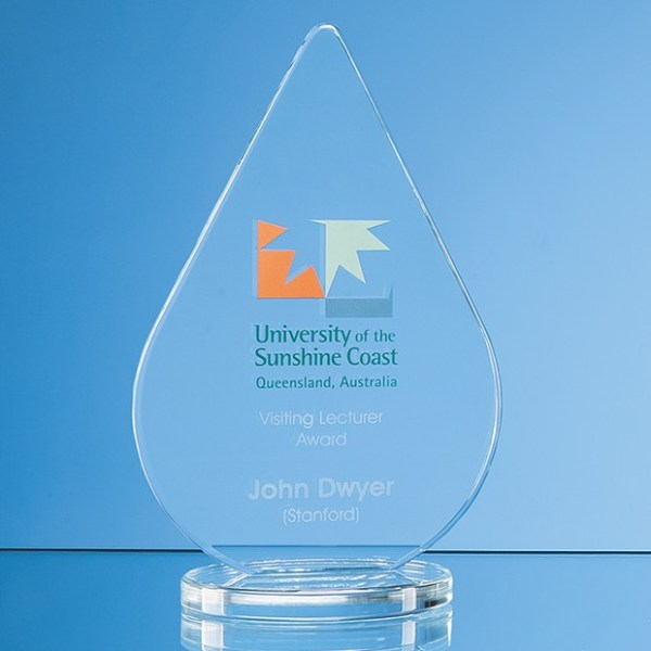 14cm x 9cm x 10mm Clear Glass Teardrop Award