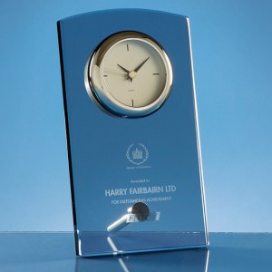 20cm Smoked Glass Rectangular Desk Clock
