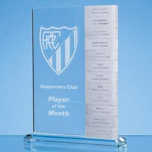 24cm x 17cm x 10mm Clear Glass 'Monthly' Rectangle Award with 12 x Winners Plaques