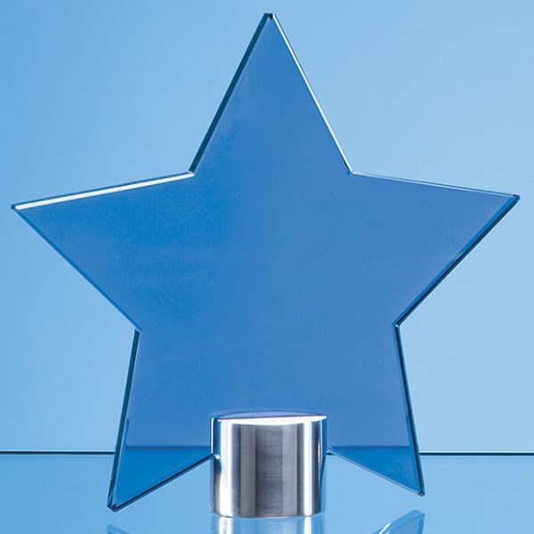 11.5cm Cobalt Blue Glass Star Mounted on a Brushed Aluminium Base