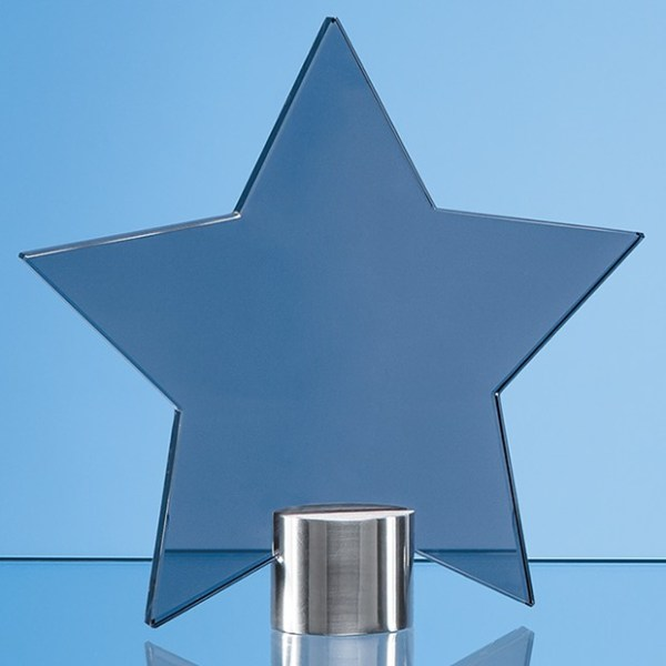 11.5cm Smoked Glass Star Mounted on a Brushed Aluminium Base