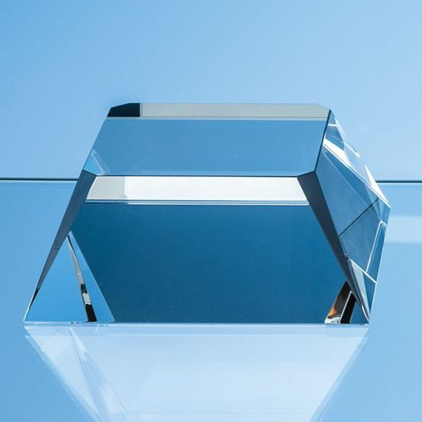 11.5cm Optical Crystal Square Base with Tapered Sides & Facet Corners