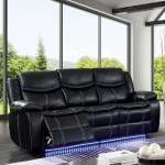 Black Power Reclining Sofa W Blue Led Lighting