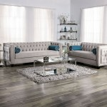 Silvan Chic Warm Grey Velvet Tufted Sofa With Single Bench Seat