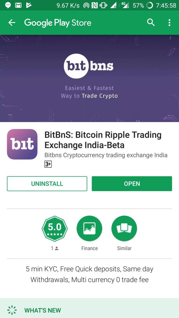 Bitbns android app is the first app with multiple cryptocurrency trading offering trade for Bitcoin and Ripple