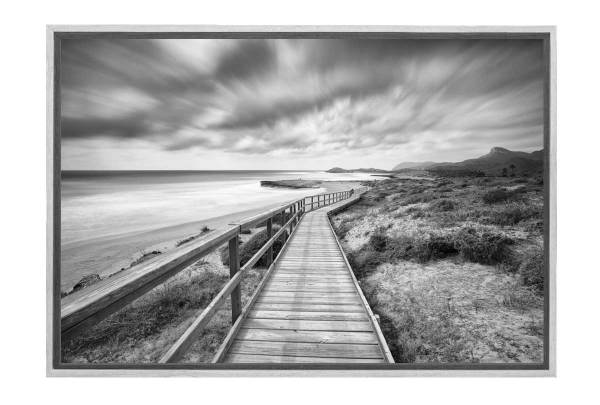 Beach Boardwalk Black & White Canvas Wall Art Print