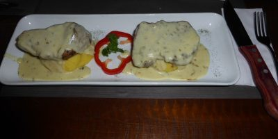 Cheese smothered steaks at Marmoleo