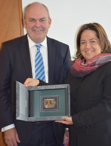 Steven Joyce, New Zealand's Minister of Education, Training, and Employment, with Colombia's Vice Minister of Education Ntalia Ariza