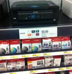 In this example from a Minneapolis (USA) based Office Depot, a cartridge-based printer is priced less than a few replacement ink cartridges