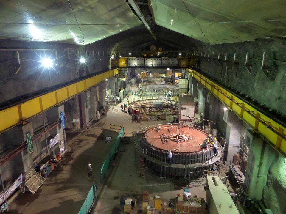 Construction during 2014 on Rotor 1 of Isagen's Sogamoso Hydroelectric Facility (Photo courtesy Isagen).