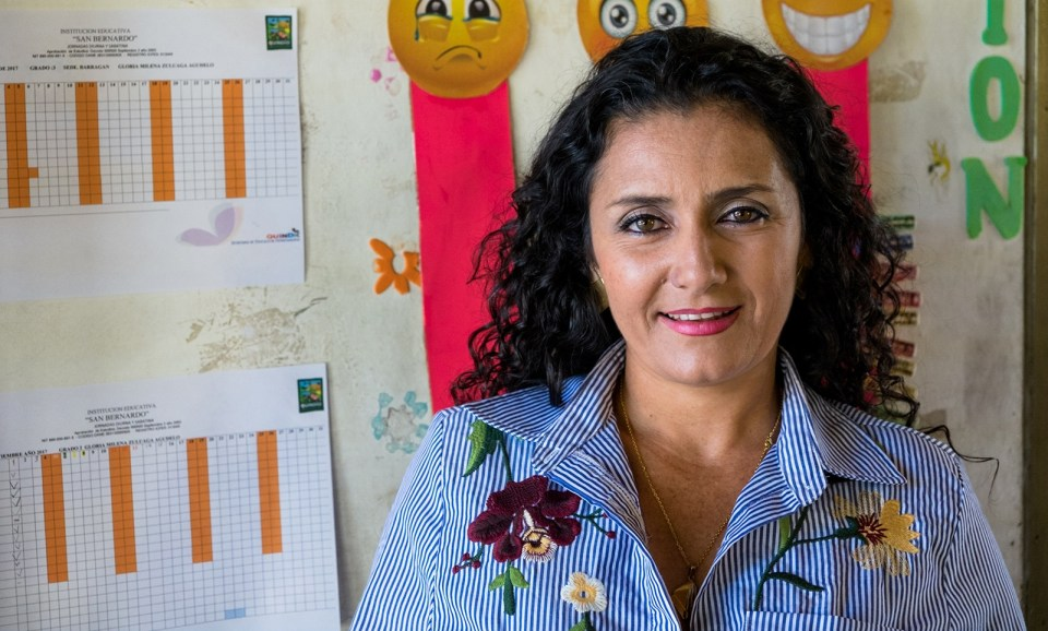 Vicky Colbert believes that Escuela Nueva never could have become such a success without great teachers like Gloria Morena Zuluaga of Sede Barragán. (Credit: Jared Wade)