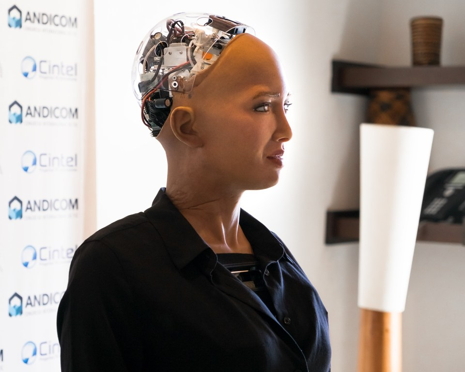 Sophia the Robot speaks during a media event at Andicom 2018 in Cartagena, Colombia. (Photo credit: Jared Wade)
