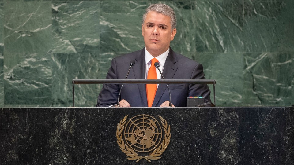 Iván Duque Márquez, president of Colombia, addresses the general debate of the General Assembly's seventy-third session. (Photo credit: UN Photo/Cia Pak)
