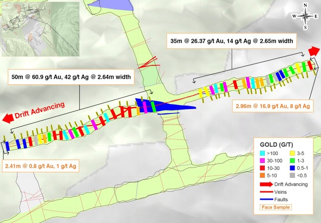 Figure 1: Underground Channel Sampling Results from the Newly-Discovered Athena Vein in the Yaraguá System, Sublevel 1190