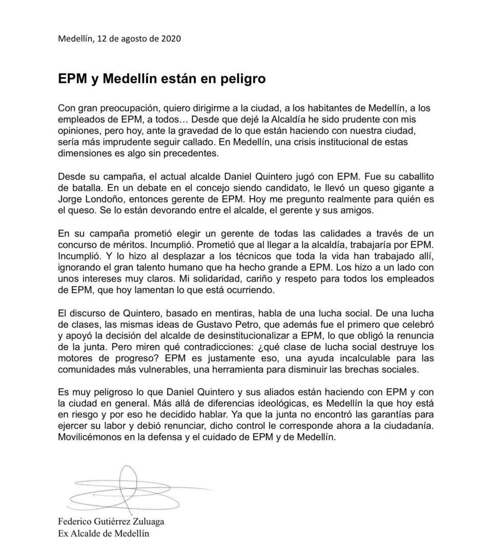 "Letter from former Medellín Mayor Federico Gutierrez: ""EPM & Medellín Are In Danger"""