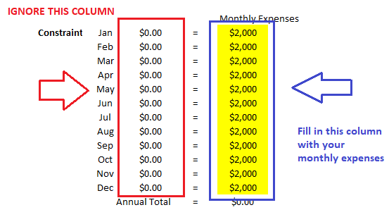excel solver monthly expenses