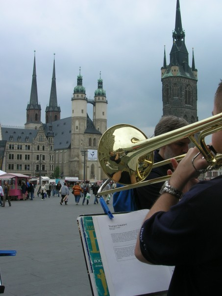 Playing my trombone in downtown Halle, Germany