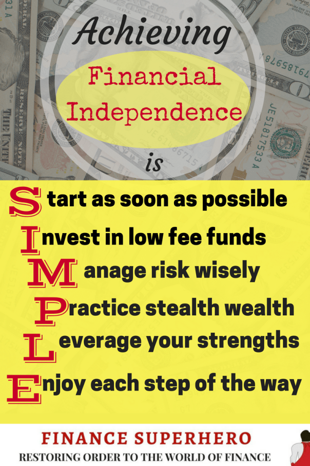 Achieving financial independence is a challenging and worthwhile goal. If you start investing early, invest in low fee funds, manage risk, practice stealth wealth, and leverage your strengths, you can enjoy every step of the journey!