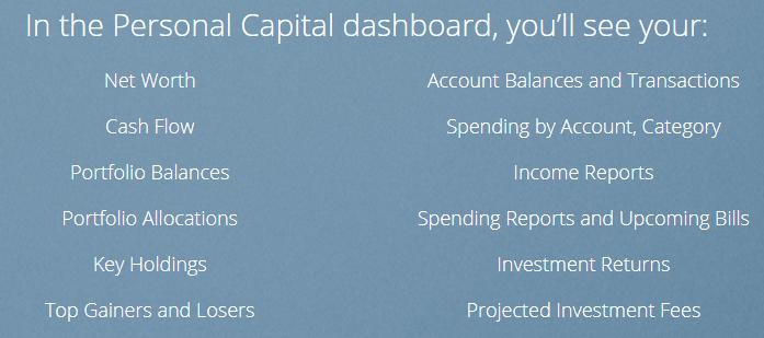 Personal Capital Dashboard - free money tools