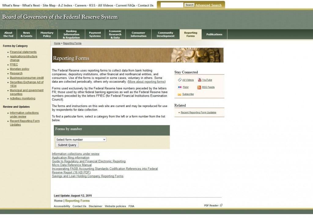 US Federal Reserve reporting Forms