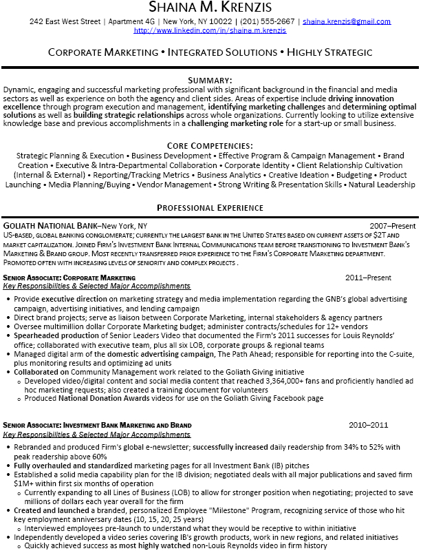 Investment Banking Resume Sample  Investment Banking Resumes