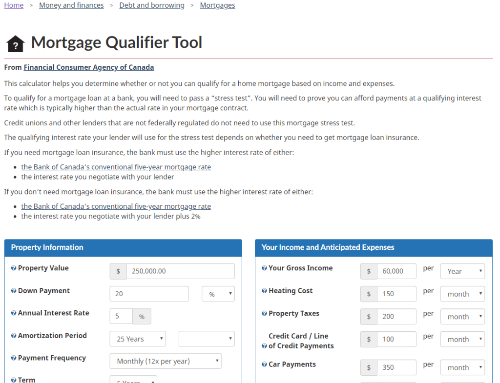 mortgage qualifier tool - winnipeg