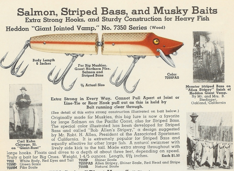 Heddon Giant Jointed Vamp Catalog Page