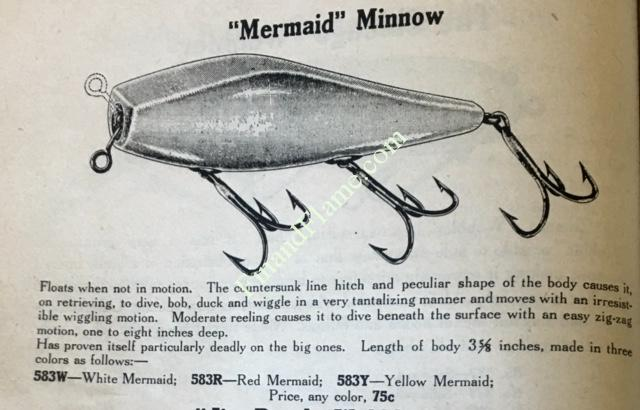 Shakespeare Mermaid Lure Advertisement from 1916 Shakespeare Antique Lure Catalog