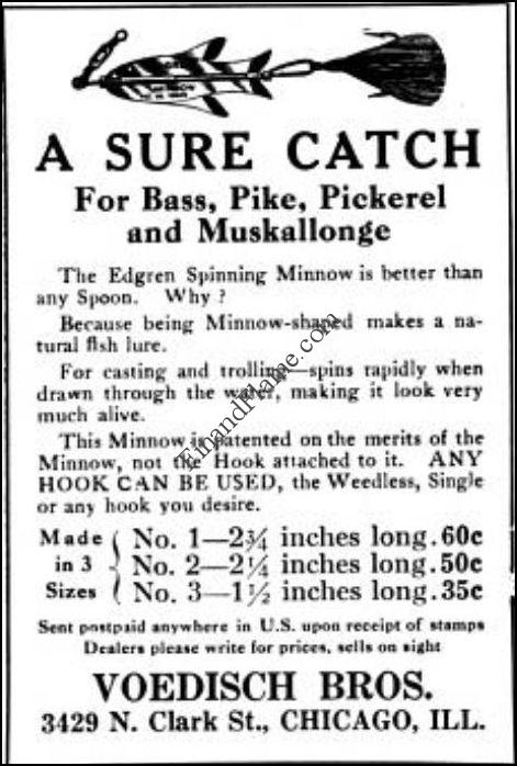 1916 Field and Stream Edgren Spinning Minnow Lure Ad
