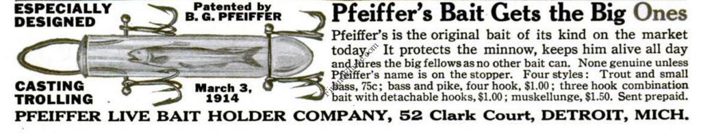 1915 Pfeiffer Live Bait Holder Ad