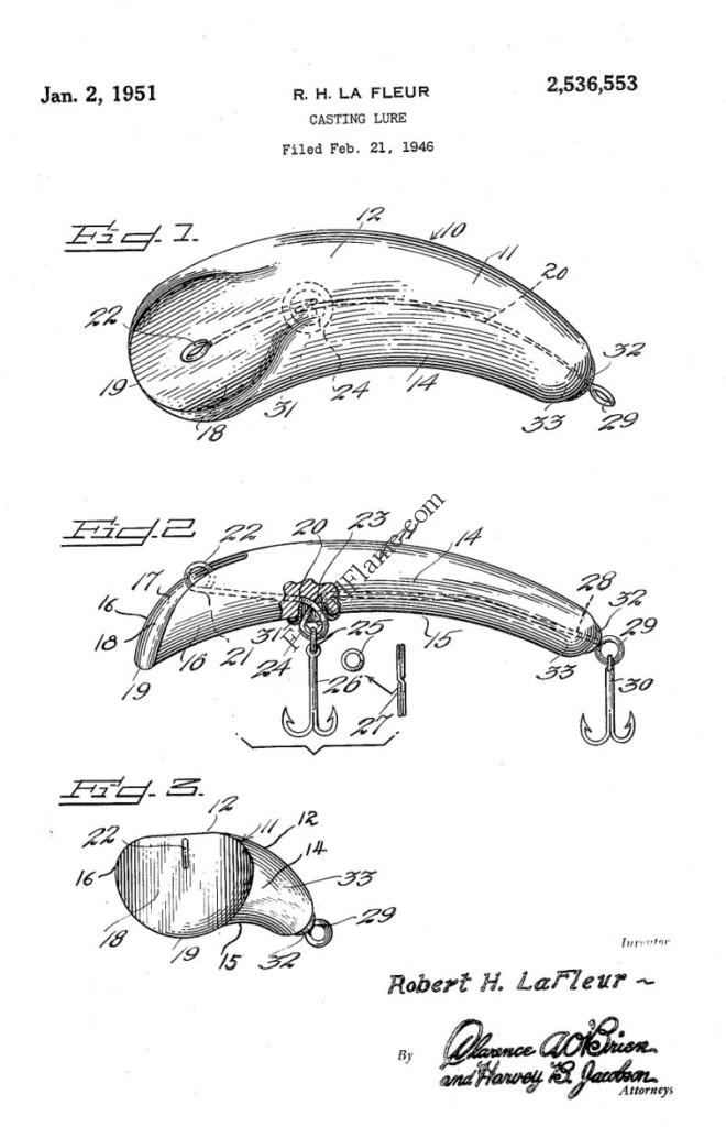 Curv A Lure Antique Lure Patent