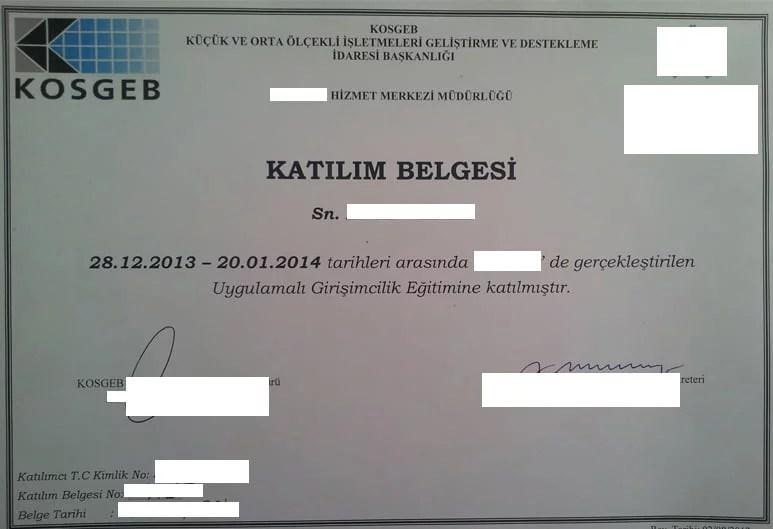 kosgeb sertifikası