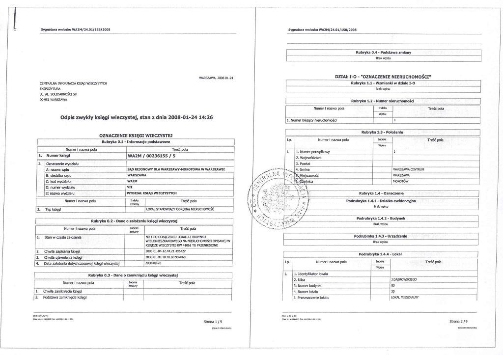 odpis księgi wieczystej sąd rejonowy dla warszawy mokotowa VII Wydział Ksiąg Wieczystych