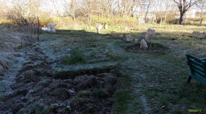 Garten am Morgen mit Raureif