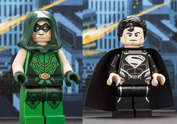 lego minifig 2013 San Diego Comic-Con Green Arrow and Black Superman