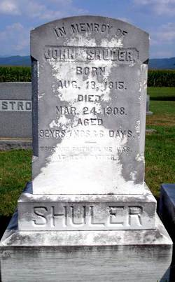 John Shuler's headstone, located in St. Paul's Lutheran Church Cemetery, Page County, Virginia