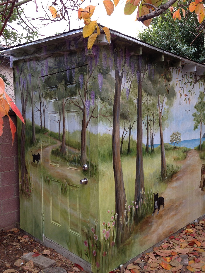 Outdoor Shed with Tree grove and view to the sea  Mural