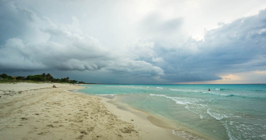 White sand beach and storm in Varadero.