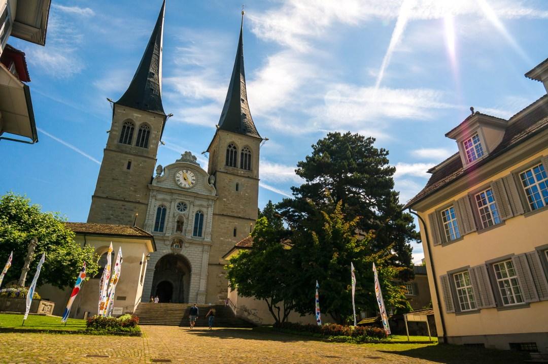 Church in Lucerne Switzerland with steep spires.