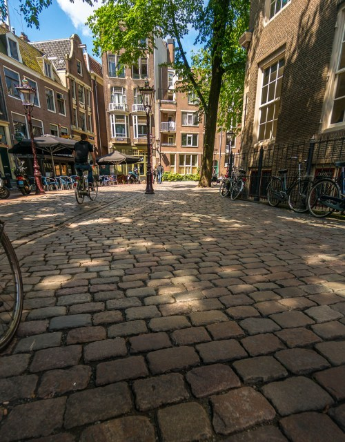 Cobbled street and bicylces in Amsterdam
