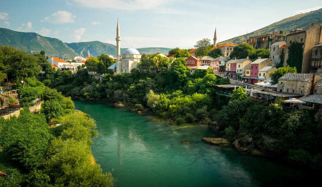 River Neretva and Mosque from Stari Most bridge in Mostar
