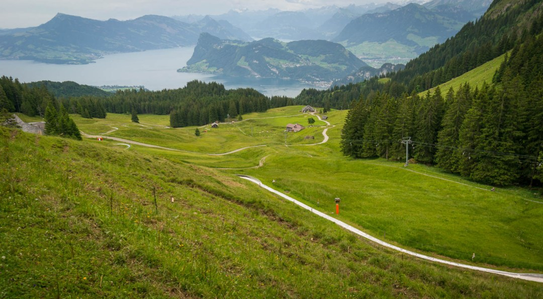 Summer toboggan luge run in Fräkmüntegg Switzerland
