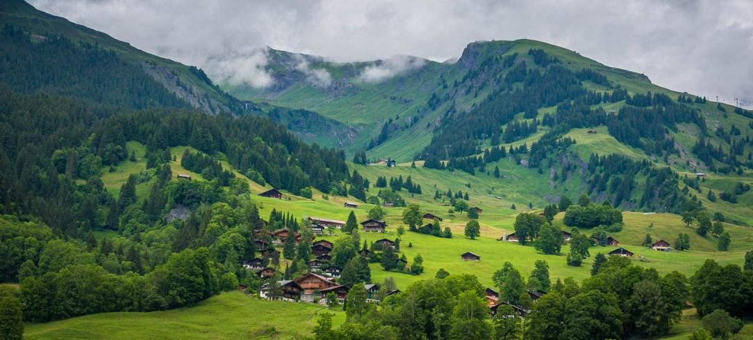 Swiss houses along hillside in Grindelwald Switzerland.