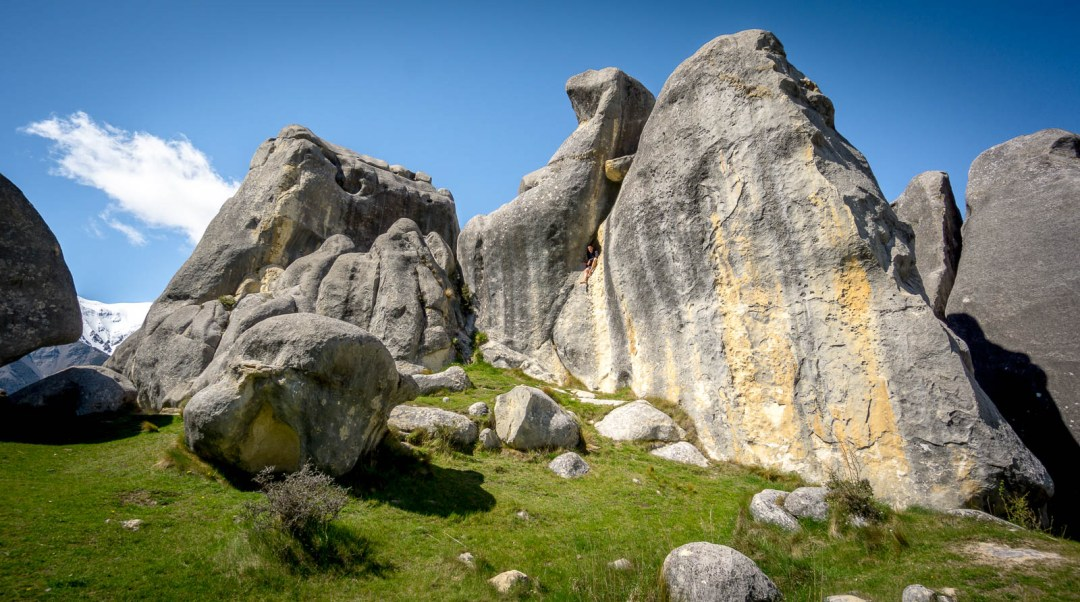 Ben Campbell in rock hole Castle Hill NZ