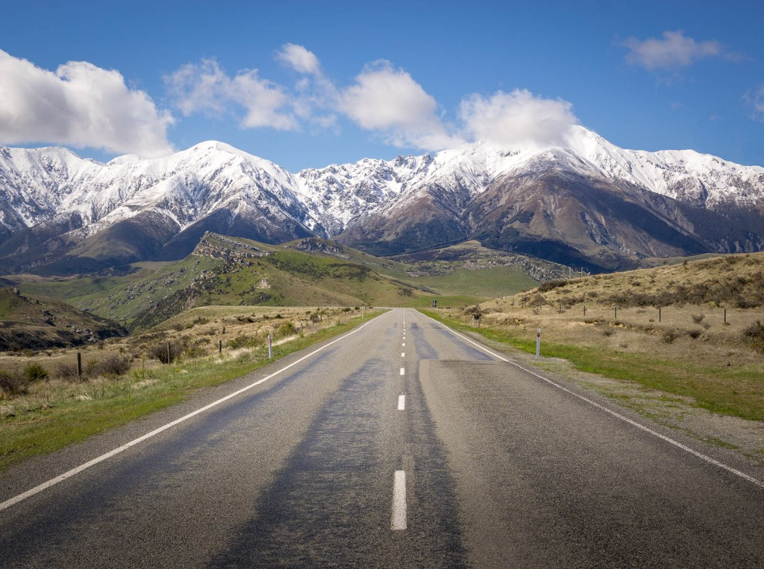 Road to Southern Alps in Arthurs Pass New Zealand