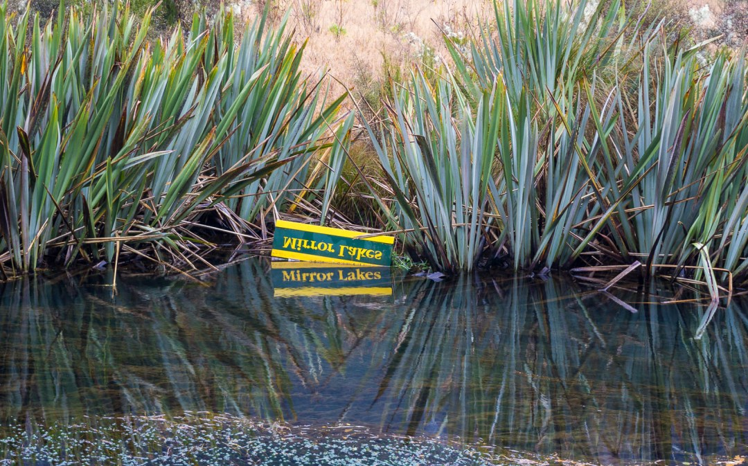 Mirror lake sign in water